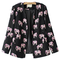 Black Elephant Print Fall Fashion Blazer