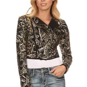 Sequined Geometric Pattern Printed Cropped Motorcycle Jacket 1802