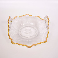 Vintage Floral Etched Bon Bon Dish Clear Glass Bowl Double Handled Heavy Gold Chantilly Lace Design Curved Sides