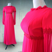 1960s Regency Style Maxi Dress in Hot Pink Sheer Sleeves