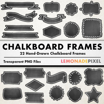 Chalkboard Frames Clipart - hand drawn clipart, hand drawn frames, doodle borders, wedding clipart, party clipart, diy design, label clipart