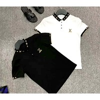 LV 2019 new embroidered letter POLO shirt half sleeve T-shirt