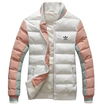 Adidas Winter Fashion Women Men Casual Warm Zipper Cardigan Cotton Jacket Coat Windbreaker White