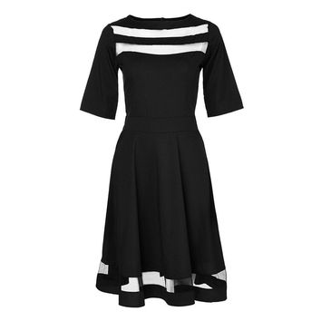 Ruffles black short dress women Mesh hollow out half sleeve high waist dresses Autumn casual elegant dress vestido
