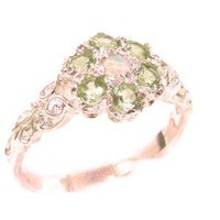 Victorian Ladies Solid Rose 9K Gold Natural Fiery Opal & Peridot Daisy Ring - Finger Sizes 5 to 12 Available