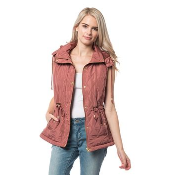 LE3NO Womens Sherpa Lined Quilted Puffer Vest with Detachable Hoodie
