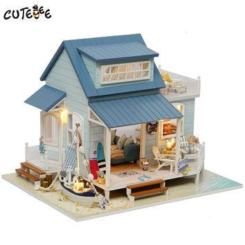 CUTEBEE Doll House Miniature DIY Dollhouse With Furnitures Wooden House Toys For Children Birthday Gift Caribbean Sea A037
