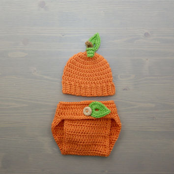 Crochet Pumpkin Costume, Crochet Pumpkin Set, Diaper Cover Set, Crochet Baby Hat, Newborn Photography Prop, Photo Prop, Baby Pumpkin Costume