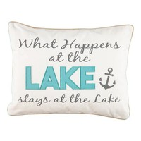 """'What Happens at the Lake' Decorative Pillow - 14"""" x 18"""" 