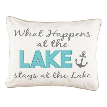 """'What Happens at the Lake' Decorative Pillow - 14"""" x 18""""   Stein Mart"""