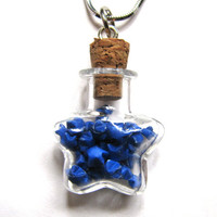 Miniature Origami Necklace - Blue Lucky Paper Stars in Star Glass Bottle Pendant