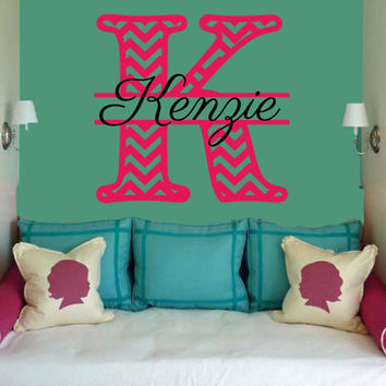 Chevron Monogram Wall Decal | Initial Wall Decal | Circle Monogram | Nursery Decal