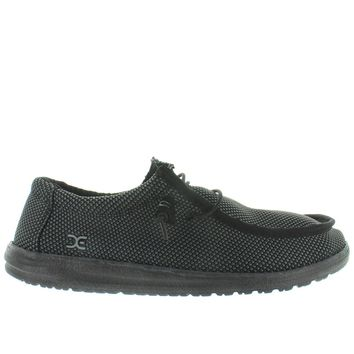 Hey Dude Wally L Sox - Black Textile Athleisure Wallabee