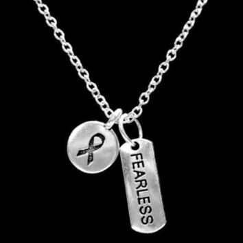Cancer Awareness Ribbon Fearless Inspirational Gift Survivor Charm Necklace