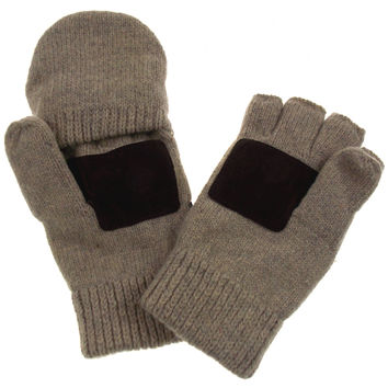 Brown Structure Wool Convertible Gloves Mittens 3M Thinsulate Lined Mens Work