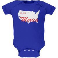 4th of July 'Merica Est 1776 Royal Soft Baby One Piece