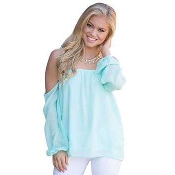 Mint Off The Shoulder Blouse