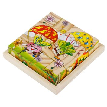 Educational Toy 3D Wooden Puzzle for Kids Cube Puzzle Vegetables(2 Years and up)