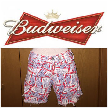 Vintage 1990s high waisted Budweiser logo shorts size 26