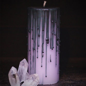 lavender dripped candle, whimsical candle, teen witch candle, dripped, spooky  Bridal gift, Goth home candle,