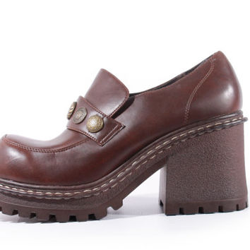 90s Vintage Platform Shoes Brown Vegan Leather Chunky Penny Loafers with Charms Hipster Goth Like New Women Size US 8.5 UK 6.5 EUR 39