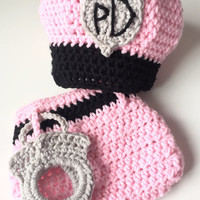 Crochet Baby outfits for Pictures - newborn baby policeman outfit - Policeman Photo Prop - Police Outfit - Policeman Baby girl outfit - Girl