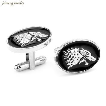 Movie Jewelry Game Of Thrones Symbol House Stark Wolf Head Cufflinks For Mens And Women Shirt Brand Cuff Buttons Cuff Links Gift