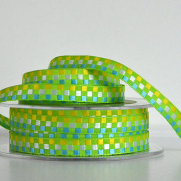 "1 yard 3/8"" woven checkered ribbon,woven ribbon,checkered ribbon,embellishment,card making,scrapbooking,hair bows,floral arrangements."