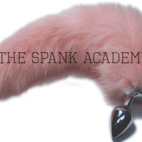"16""-17"" FAUX Fur Baby Pink Tail Butt Plug,with/without detachable/non-detachable stainless steel/silicone Butt Plug, Choice of 3 sizes!"
