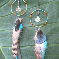dreamcatcher earrings Thunderbird phoenix coachella festival earrings Native American inspired  tribal boho belly dancer and hipster style
