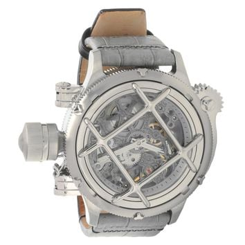 Invicta 14630 Men's Russian Diver Lefty Gunmetal Skeleton Dial Leather Strap Mechanical Dive Watch