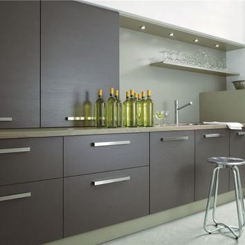 Gray lacquer kitchen cabinet
