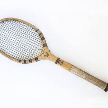 "Antique Wright Ditson ""Davis Cup"" Wood Tennis Racket, Early 1900s Racquet Sports Man Cave Wall Decor (For display)"