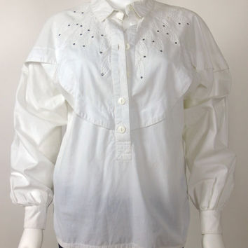 80s Less Than Zero cotton woven broderie anglaise blouse