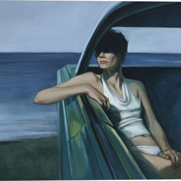 Parked Figurative Canvas Wall Art Print by Katherine Fraser