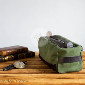 Dopp kit toiletry bag dopp kit bag waxed canvas bag leather toiletry bag shaving bag makeup bag handmade dopp kit military green and brown