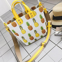 Creative Women's Large Leather Pineapple Handbag Crossbody Shoulder Bag Travel Bag