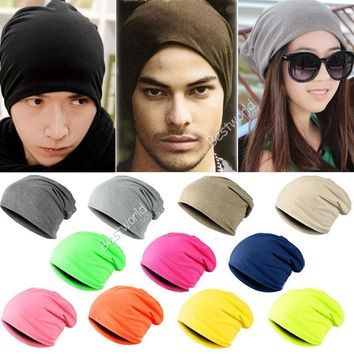 2016 Fashion 13 Color Unisex Men Knitted Winter Warm Crochet Slouch Hats Punk Women Cap Cotton Skullies Blends Beanie A1