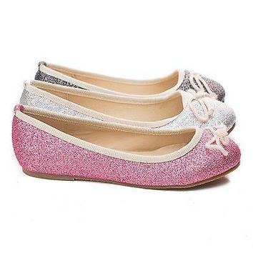 Itsy By Soda, Children Girls Glitter Bow Slip On Ballerina Dress Flats