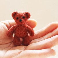 Needle felted bear miniature Mr Bean Teddy toy, Needle felting
