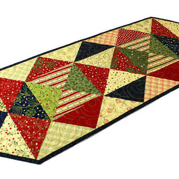 Christmas Quilted Table Runner - Red, Green, Navy Blue and Cream , Crazy Eights Triangles Holiday Table Runner Quilt, Sandy Gervais, Moda
