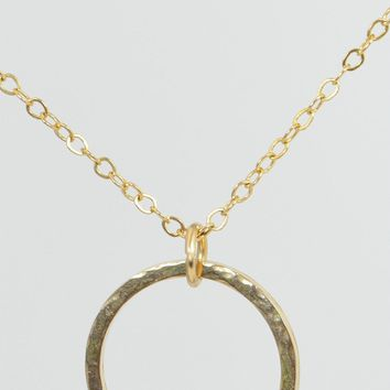 Hammered 14k Gold Filled Circle Birthstone Necklace