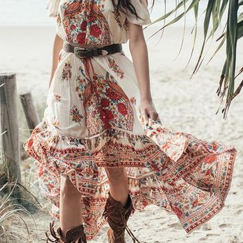 White Off Shoulder Two Piece High-Low Flowy Boho Mexican Sun Maxi Dress