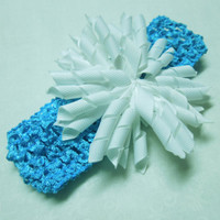 Aqua blue crochet headband with white ribbon flower for children, baby, hair accessories by MarlenesAttic