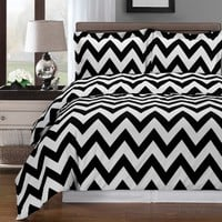 Chevron Black Duvet Cover 100% Combed cotton