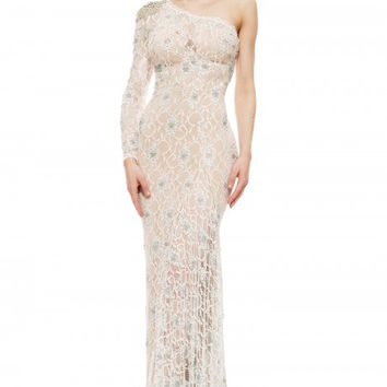 JOHNATHAN KAYNE 5008 Lace One-Sleeve Crystal Prom Evening Dress