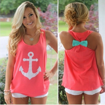 Fashion Womens Summer Navy Anchor Vest Top Sleeveless Blouse Casual Tank Tops T-Shirt [8805169031]