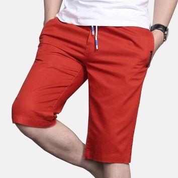 Shorts Men Leisure 2017 Summer Casual Men's Straight Elastic Waist Solid Color Dress Shorts Knee Length Cotton Male Bermuda