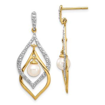 14K Yellow Gold Diamond and 5-6mm FW Cultured Pearl Post Dangle Earrings
