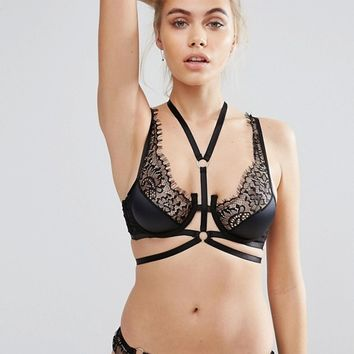 River Island Strappy Lace Detail Lingerie Set at asos.com